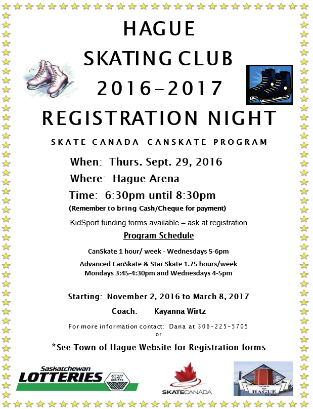 Skating Registrations @ Hague Arena | Hague | Saskatchewan | Canada