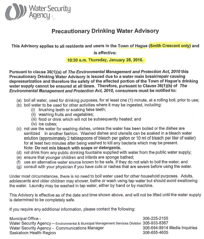 Water Advisory - Jan. 28th, 2016