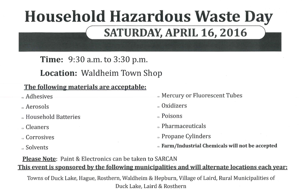 Household Hazardous Waste Day - Waldheim