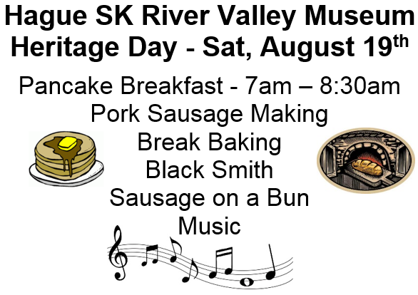 Heritage Day - August 19th @ Hague SK River Valley Museum | Hague | Saskatchewan | Canada