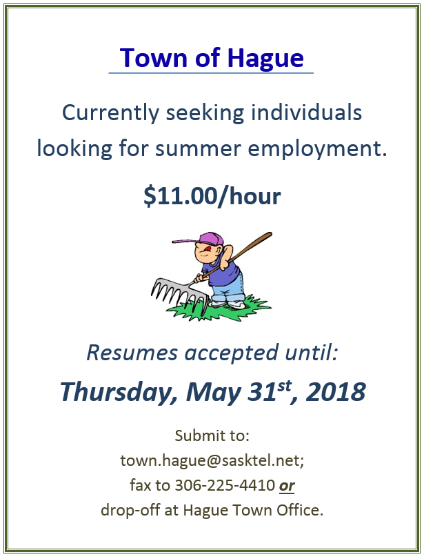 Job Opportunity:  Summer Employment
