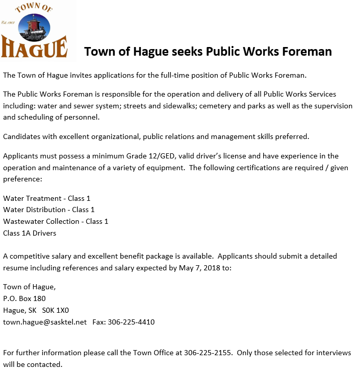 Job Opportunity:  Town of Hague Foreman @ Hague Town Office | Hague | Saskatchewan | Canada