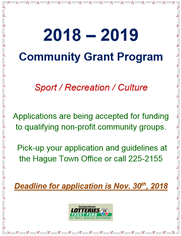 Sask Lotteries Community Grant Application Deadline @ Hague Town Office | Hague | Saskatchewan | Canada