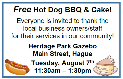 Business Owners & Staff Appreciation BBQ: Hot Dogs & Cake