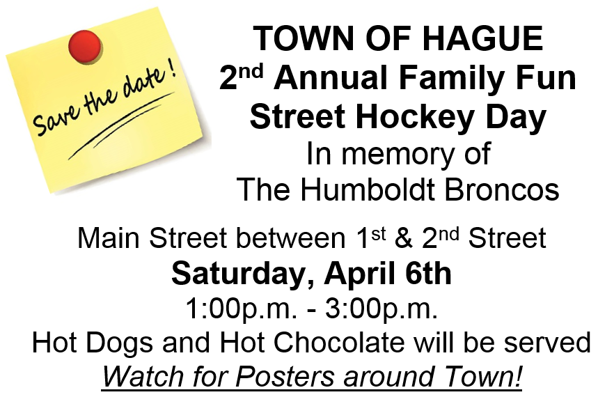 Humboldt Broncos Street Hockey @ Hague Town Office