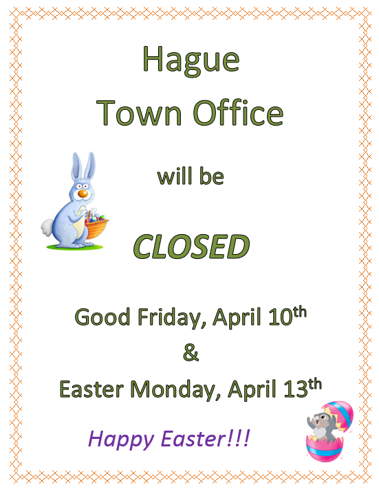 Town Office Closed:  Easter