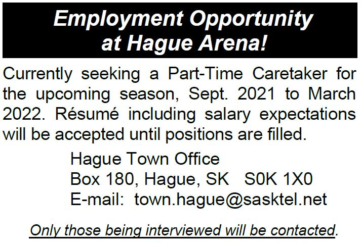 Employment Opportunity at Hague Arena